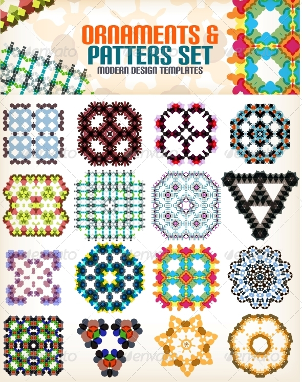 Set of Vintage Geometric Patterns for Backgrounds