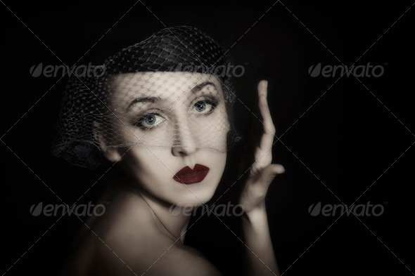 portrait of beautiful young woman in veil - Stock Photo - Images
