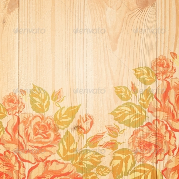 GraphicRiver Red Roses on a Background of Wood 6026809