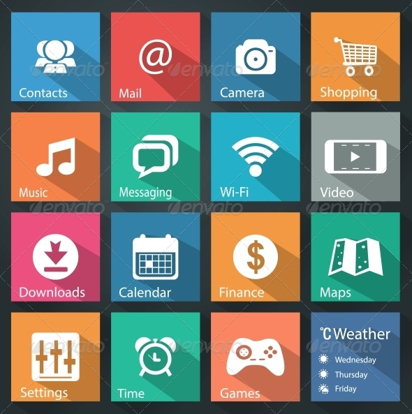 GraphicRiver Flat Icons for Web and Mobile Applications 6027982