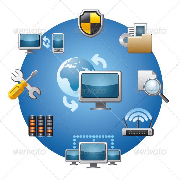 GraphicRiver Network Icon Set 6028564