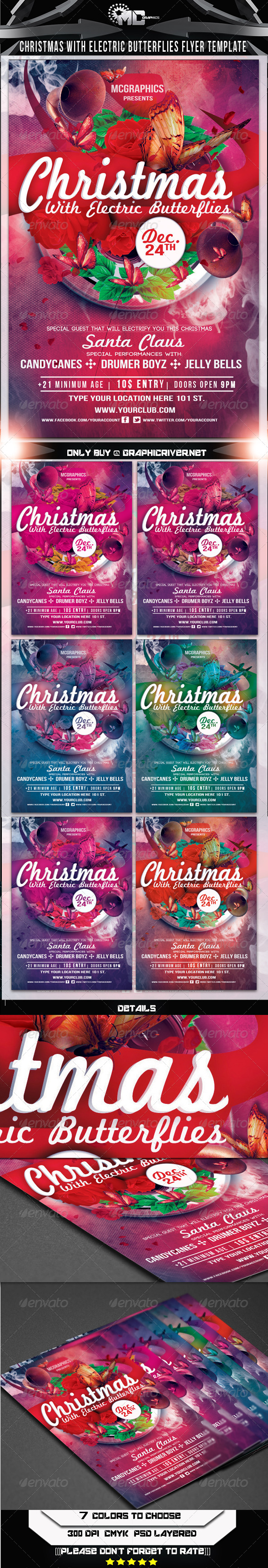 GraphicRiver Christmas With Electric Butterflies Flyer Template 6028592