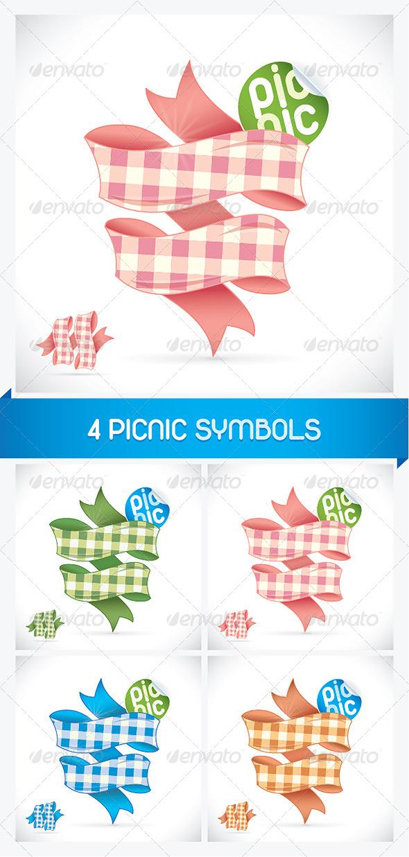 GraphicRiver 4 Picnic Sign Illustrations 6012587