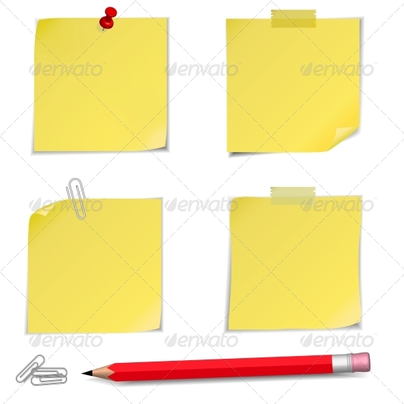 GraphicRiver Adhesive Notes with Pin and Red Pencil 6029236