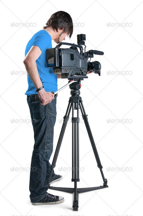 PhotoDune Professional cameraman isolated on white background 629639