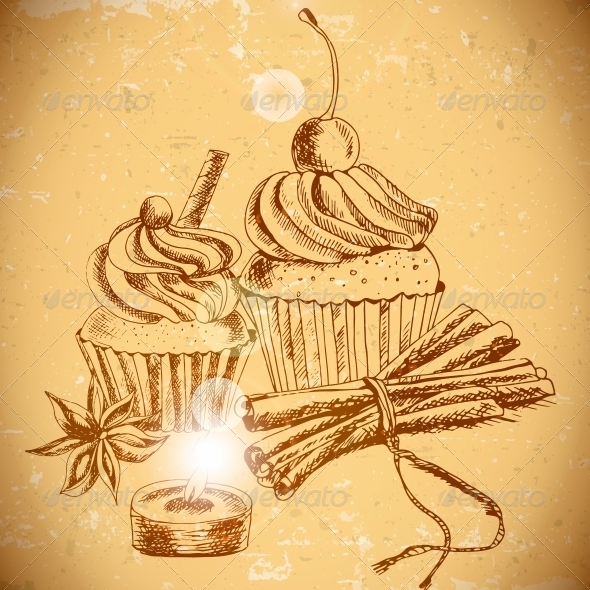GraphicRiver Vintage Background with Cupcake and Cinnamon 6029275