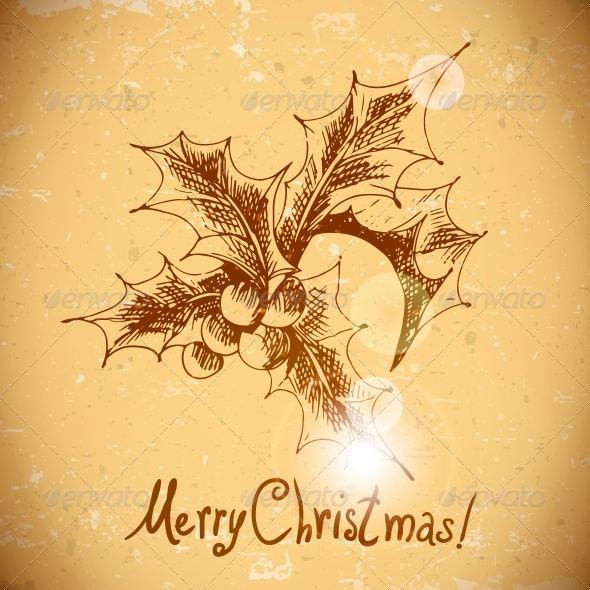 Christmas Holly Vintage Background