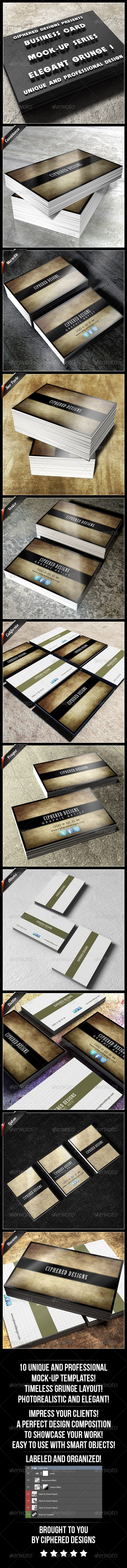 Business Card Mock-Up Series - Elegant Grunge 1 - Business Cards Print