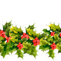 Christmas Holly Watercolor seamless background - PhotoDune Item for Sale