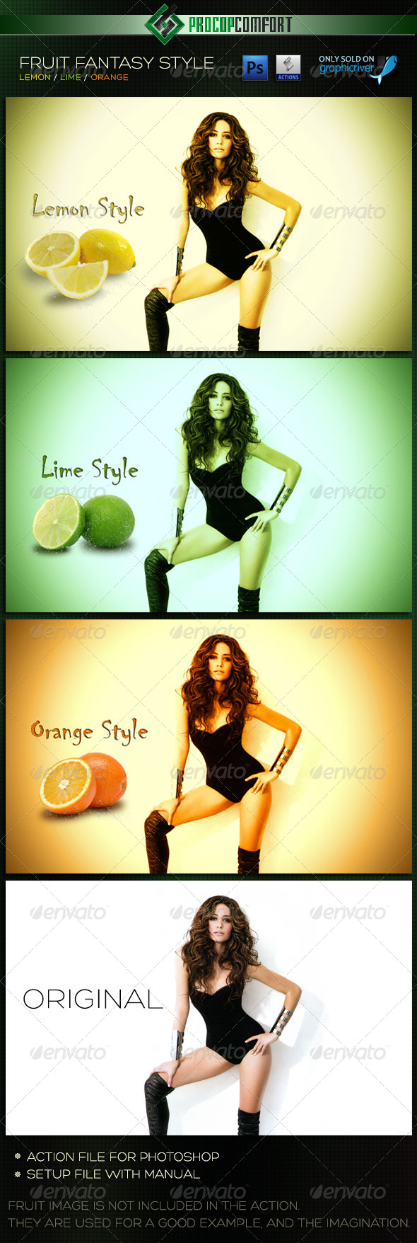 GraphicRiver Fruit Fantasy Styles Lemon Lime Orange 6030077