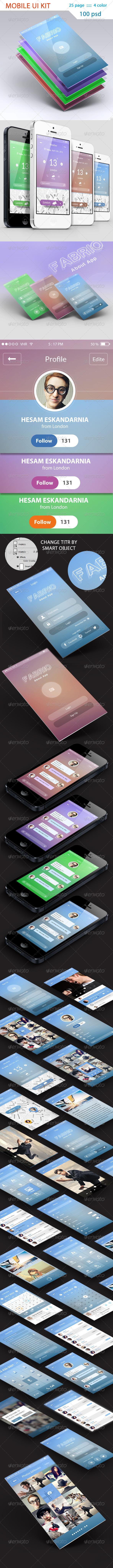 GraphicRiver UI KIT Mobile 4 Color Creative 6024032