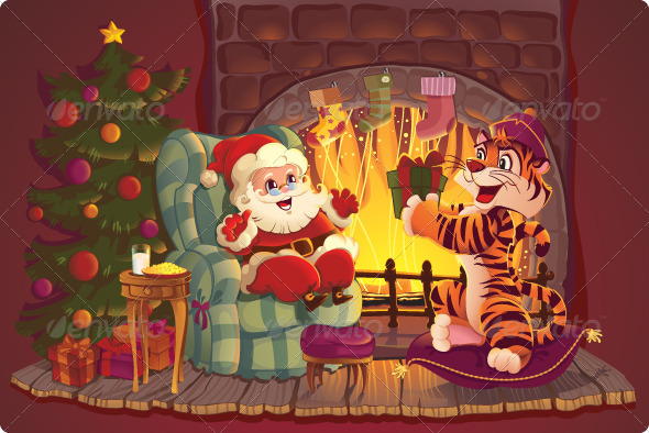 GraphicRiver Santa Claus and Tiger 6030878