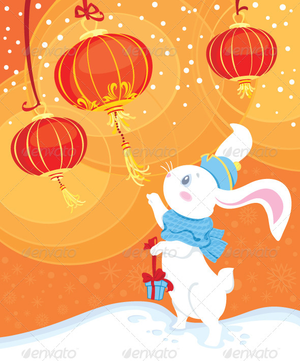 GraphicRiver Curiosity White Rabbit and Chinese Paper Lanterns 6032261