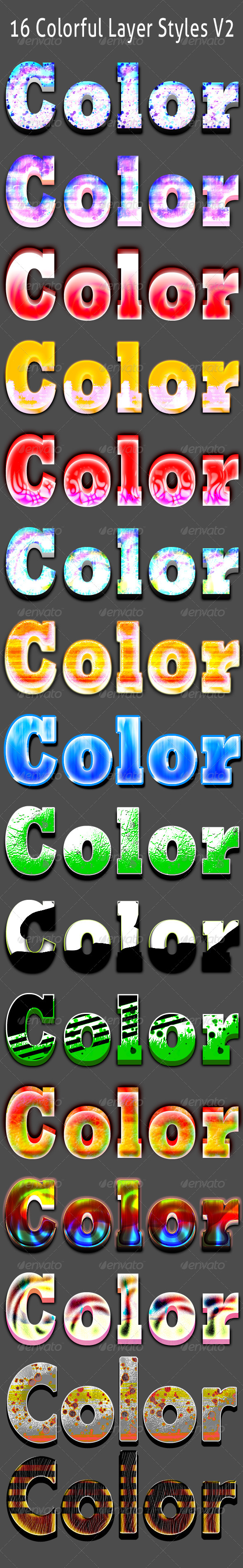 GraphicRiver 16 Colorful Layer Styles 6032612