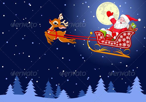 GraphicRiver Santa in Sled 6032677