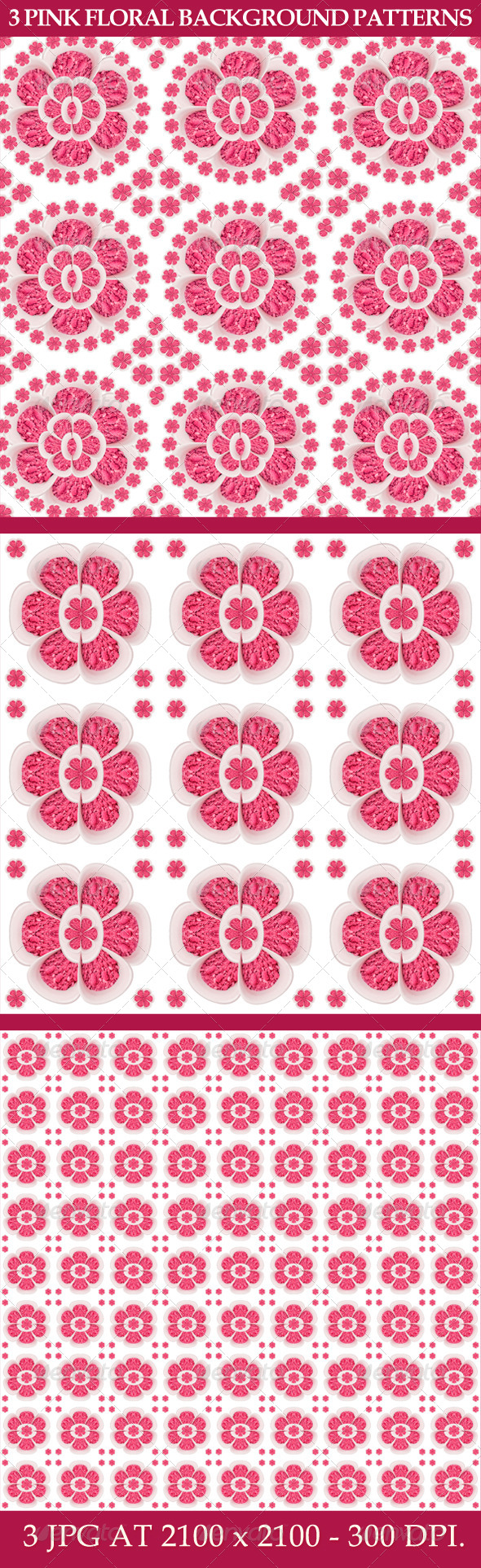 GraphicRiver 3 Pink Floral Background Patterns 6032946