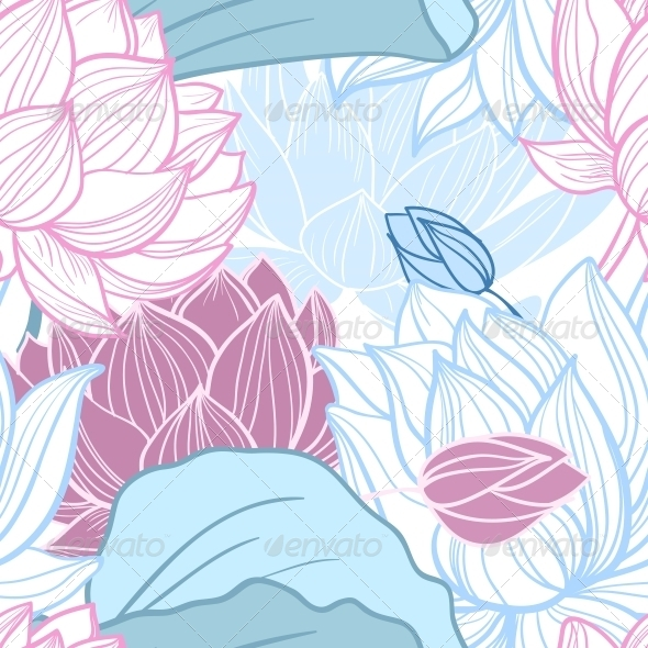 GraphicRiver Lotus Seamless Pattern 6033699