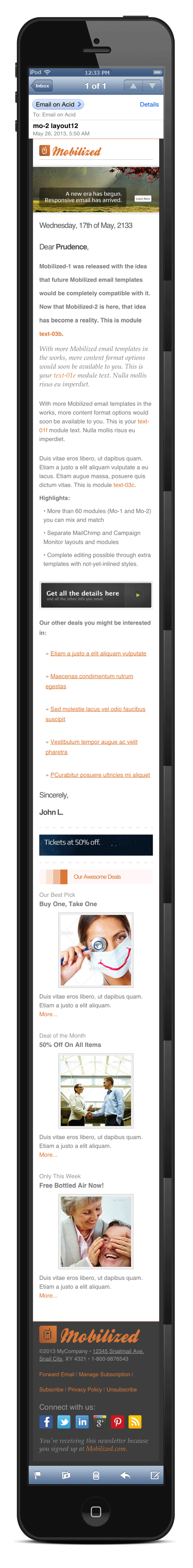 Mobilized-2 - Responsive & Modular Email Templates - Screenshot in an iPhone 5.