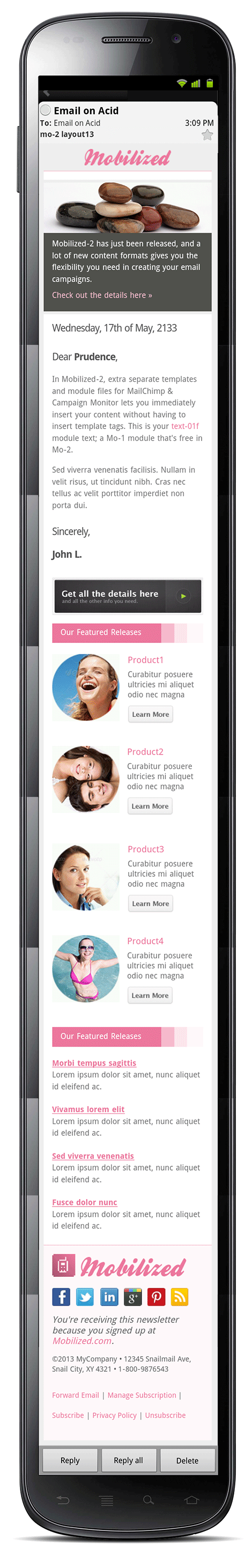 Mobilized-2 - Responsive & Modular Email Templates - Screenshot of layout12 in an Android 2.3 mobile device.