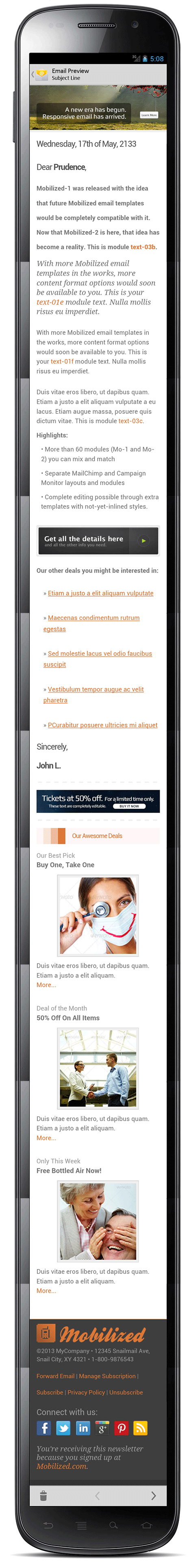 Mobilized-2 - Responsive & Modular Email Templates - Screenshot of layout12 in an Android 4 device.