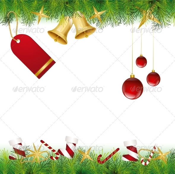 GraphicRiver Christmas Card Ornament hanging on the Tree 6034910
