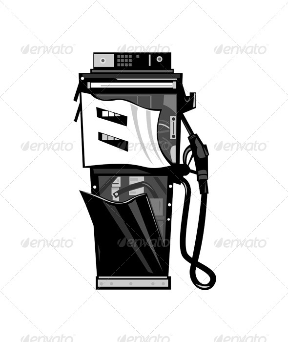 GraphicRiver Dilapidated Fuel Pump Station Broken Retro 6035133