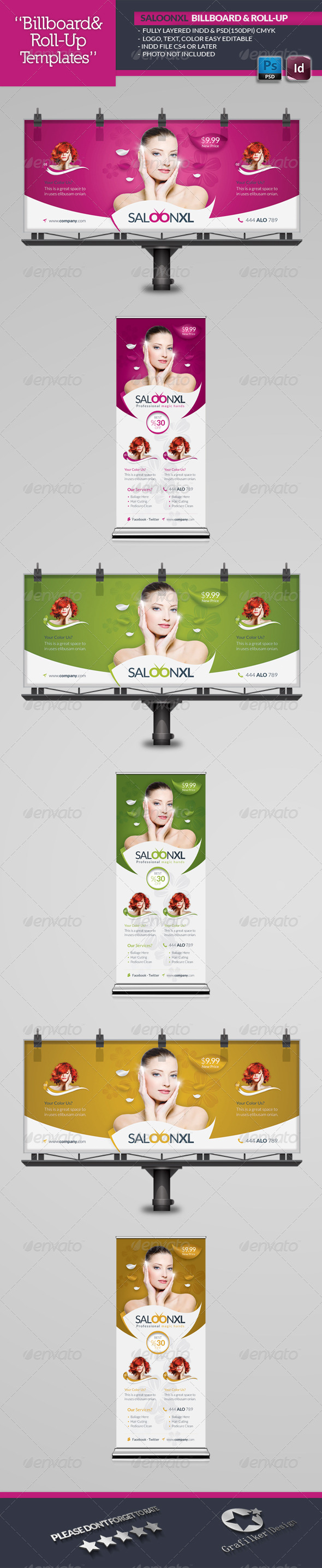 GraphicRiver Beauty Saloon Billboard Roll-Up Template 6035211
