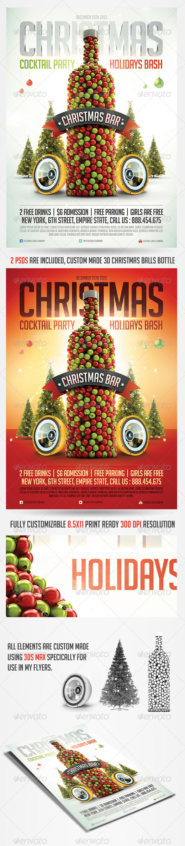 GraphicRiver Christmas Cocktail Flyer Template 6035352