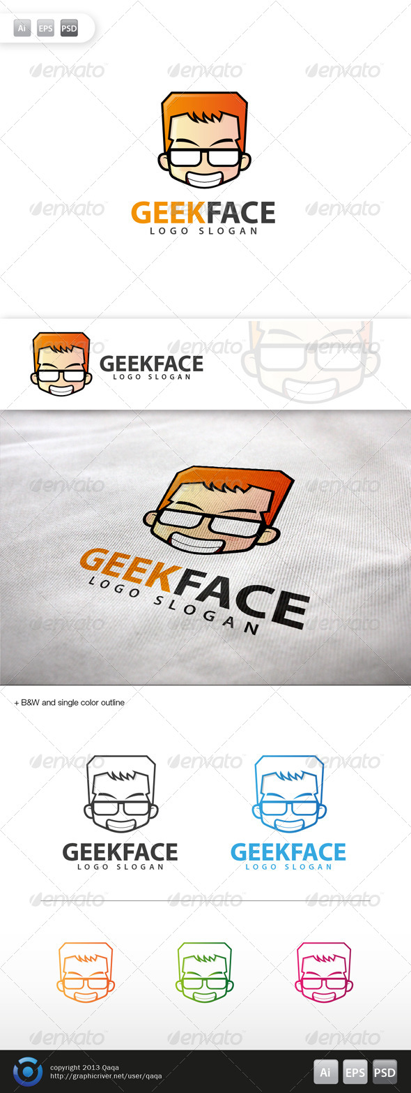 GraphicRiver Geek Face Logo 13 6035456