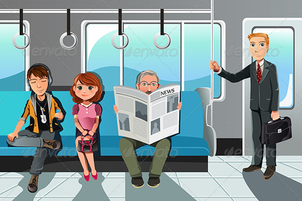 GraphicRiver People riding Train 6035546