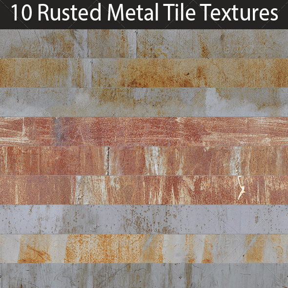 3DOcean 10 Rusted Metal Tile Textures Collection 6037071