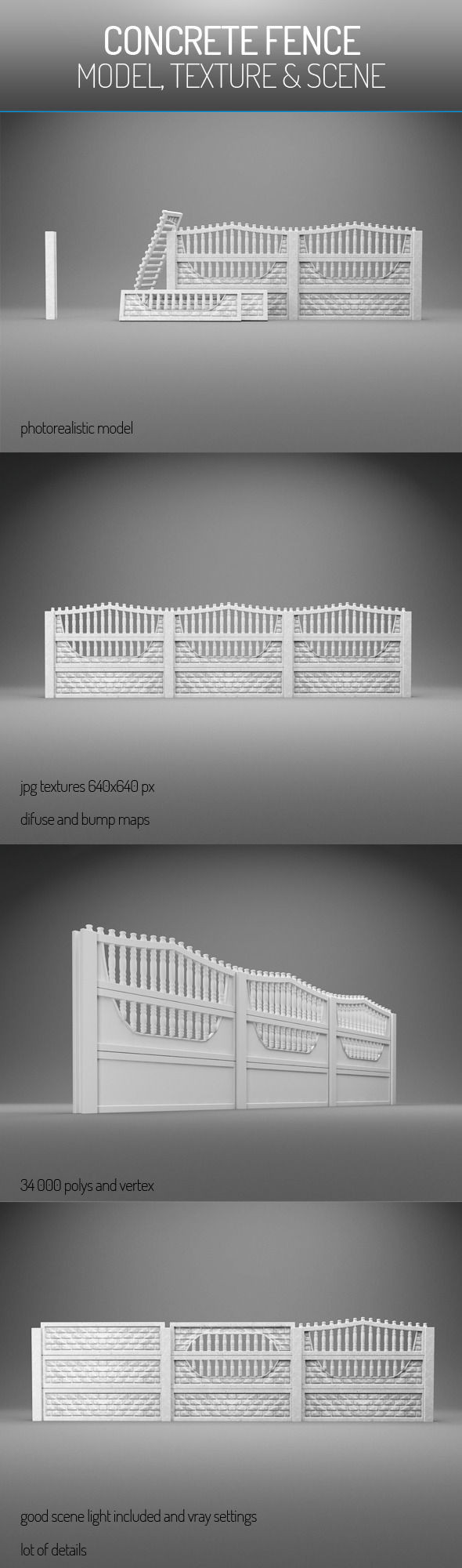 Concrete Fence - 3DOcean Item for Sale