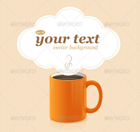 Vector Orange Coffee Cup with Text