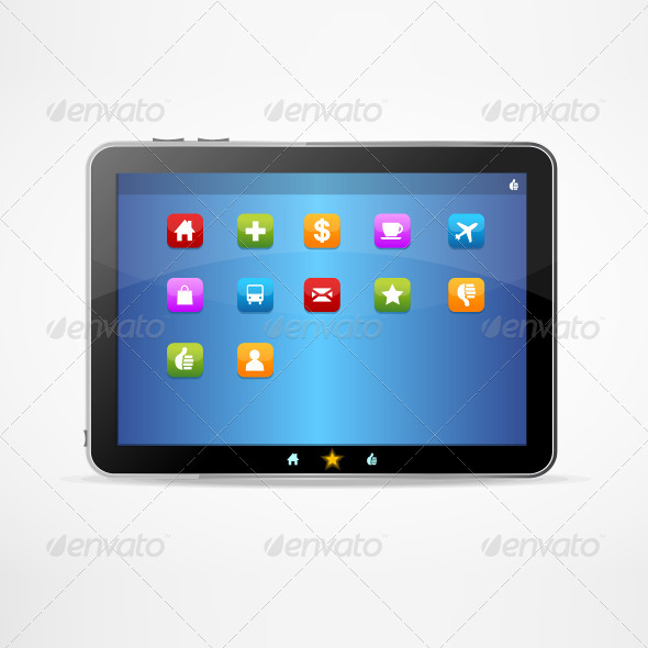Black Tablet on White Background and Icons