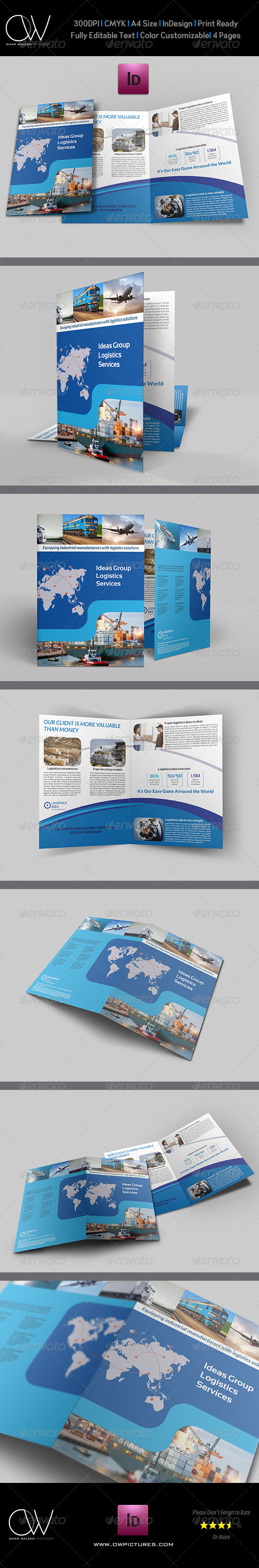 GraphicRiver Logistics Services Bi Fold Brochure Template 6038280