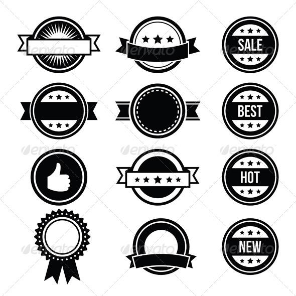 Retro round badges vintage labels set vector