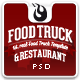 Food Truck & Restaurant 10 Styles - PSD Template