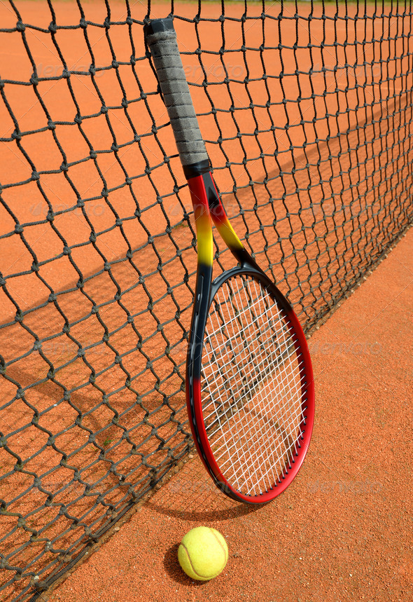 Tennis ball and racket - Stock Photo - Images
