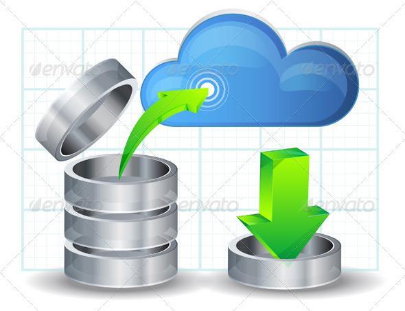 Upload Data to Cloud Illustration