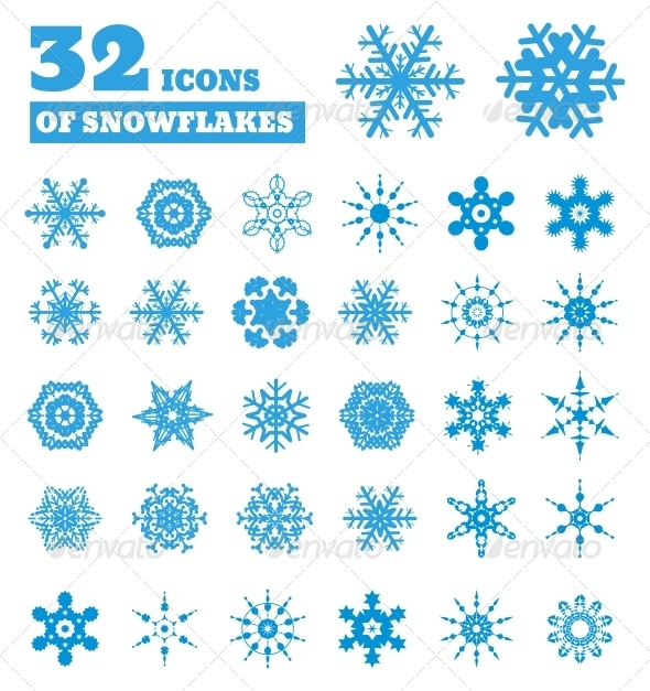 GraphicRiver Snowflakes Set of 32 Icons 6039464