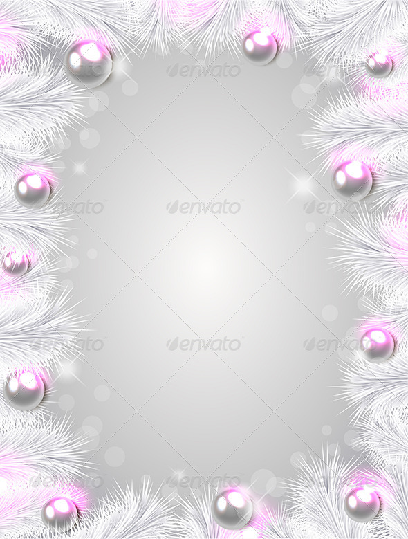 GraphicRiver Christmas Background with White Fir Branches 6039684