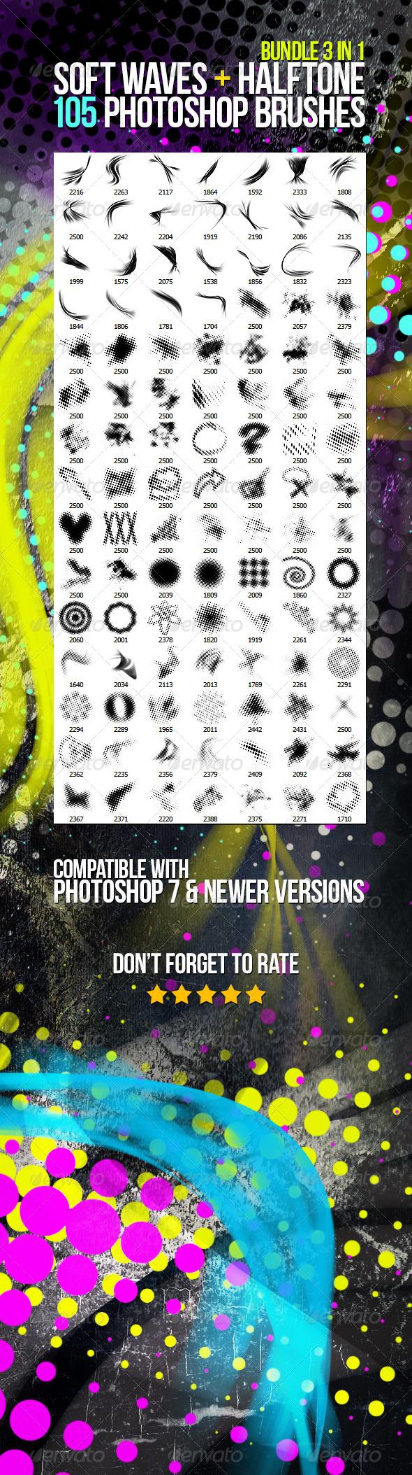 GraphicRiver 105 Soft Waves & Halftone Photoshop Brushes Bundle 6039691