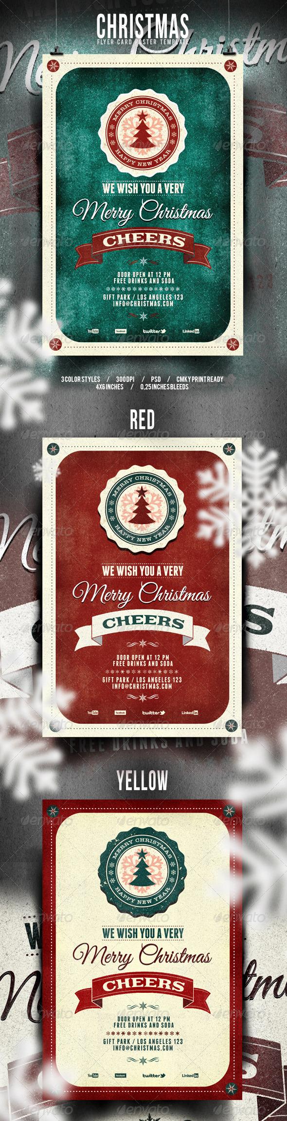 GraphicRiver Christmas Flyer Poster Retro Vol 3 6000416