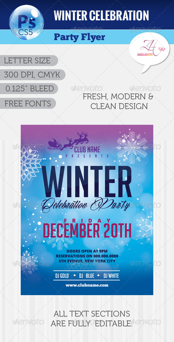 GraphicRiver Winter Celebration Party Flyer 6039733
