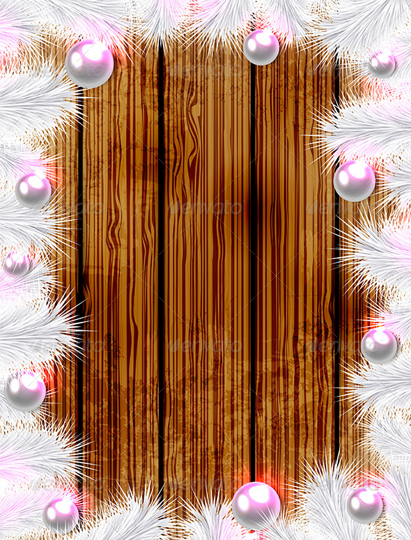 GraphicRiver Christmas Wooden Background with White Fir 6039741