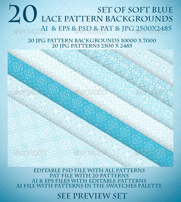 GraphicRiver Set of Soft Blue Lace Pattern Backgrounds 6040114