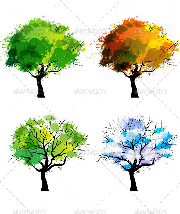 GraphicRiver Trees of Four Seasons 6040312