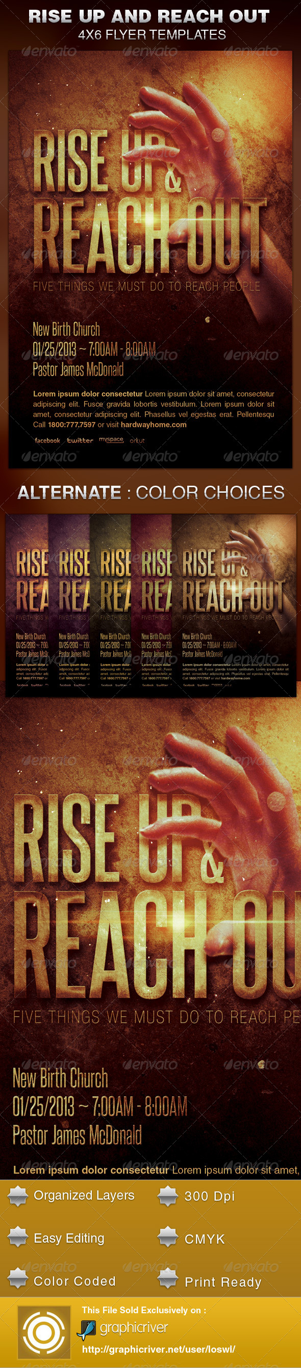 GraphicRiver Rise Up and Reach Out Church Flyer Template 6040583