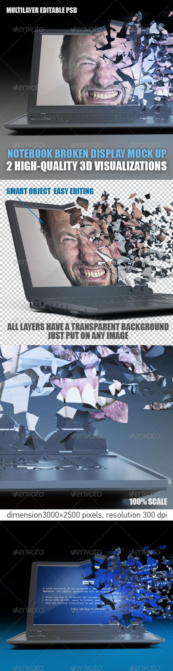GraphicRiver 3D Notebook broken display mock up 5999465