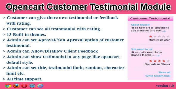 opencart customer testimonial module